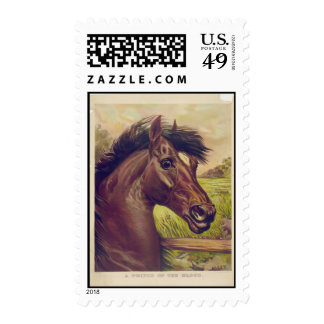 A Prince of the Blood by Currier & Ives Horse Head Postage Stamp