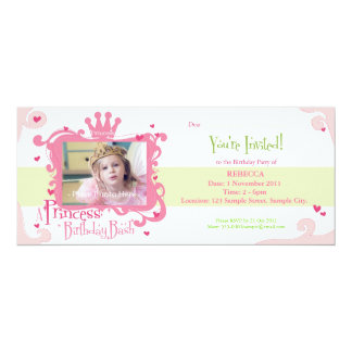 "A Princess Birthday Bash Invite 4"" X 9.25"" Invitation Card"