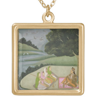 A Princess listening to female musicians by a rive Square Pendant Necklace