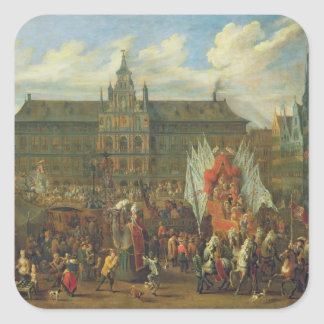 A Procession at Antwerp, 1697 Square Sticker