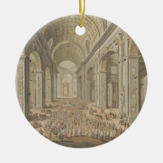 A Procession in St Peter's, Rome (w/c over an etch Ceramic Ornament