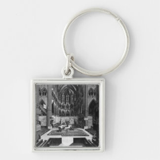 A Prospect of the Inside Collegiate Church Silver-Colored Square Keychain