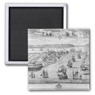A Prospect of the Towne and Harbour of Harwich 2 Inch Square Magnet