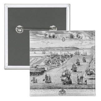 A Prospect of the Towne and Harbour of Harwich Pinback Button
