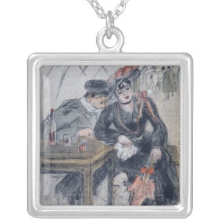 A Prostitute and her Client Square Pendant Necklace