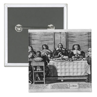A Protestant family blessing the meal Button