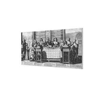 A Protestant family blessing the meal Stretched Canvas Print
