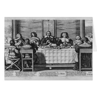 A Protestant family blessing the meal Card