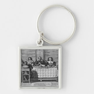 A Protestant family blessing the meal Keychain