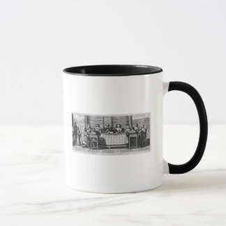 A Protestant family blessing the meal Mug