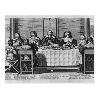 A Protestant family blessing the meal Postcard