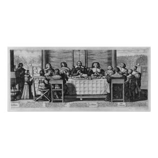 A Protestant family blessing the meal Poster