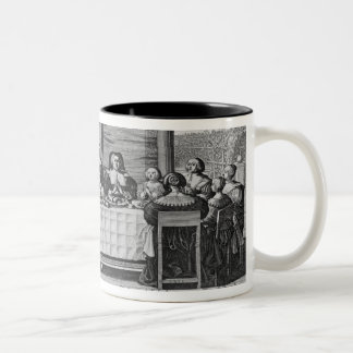 A Protestant family blessing the meal Two-Tone Coffee Mug