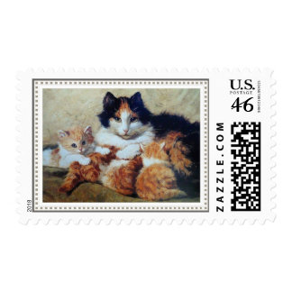 A Proud Mother - A Cat Nursing her Tabby Kittens Stamps