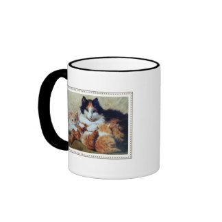 A Proud Mother - Cat Nurses Her Orange Kittens Ringer Mug