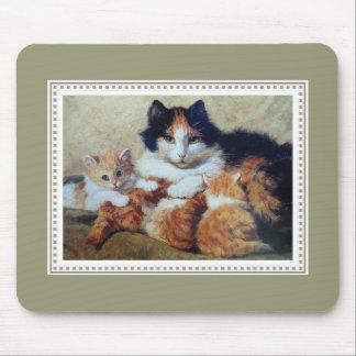 A Proud Mother - Cat Nursing Her Orange Kittens Mouse Pad