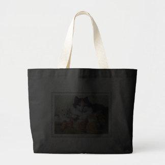 A Proud Mother - Cat Nursing Her Tabby Kittens Canvas Bag
