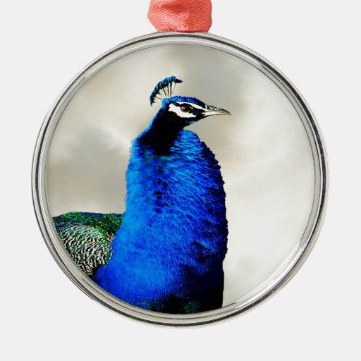 A proud peacock metal ornament
