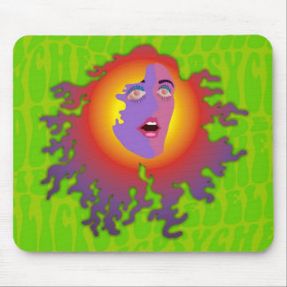 a psychedelic lady mouse pad
