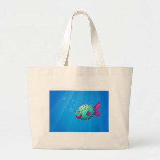 A puffer fish smiling jumbo tote bag