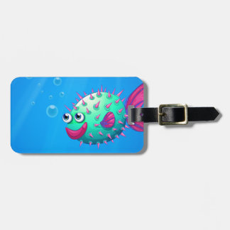 A puffer fish smiling tag for bags
