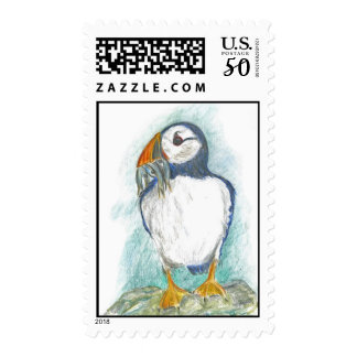 A Puffin Fish Snack, watercolor pencil drawing Postage