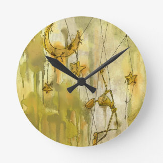 A Puppet's Dream of Moon and Stars on String Round Wallclocks