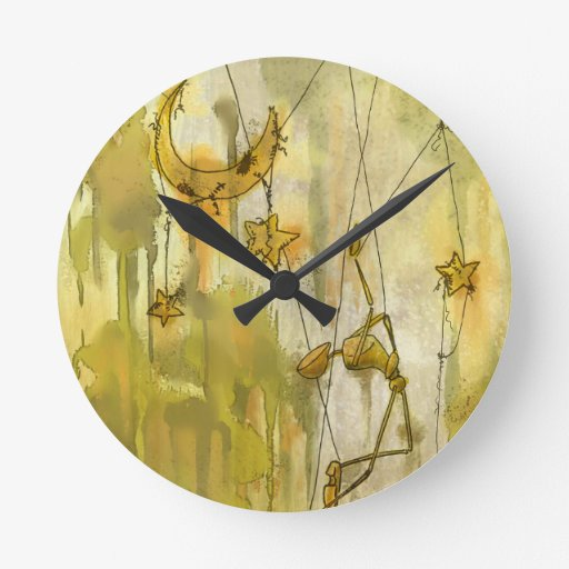 A Puppet's Dream of Moon and Stars on String Round Clock ...