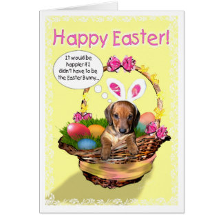 A puppy in a basket - Happy Easter! Card