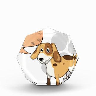 A puppy with an empty rectangular callout award