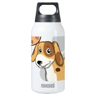 A puppy with an empty rectangular callout SIGG thermo 0.3L insulated bottle