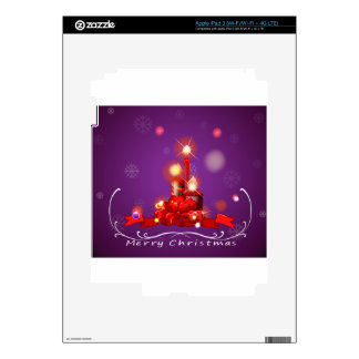 A purple christmas card with red lighted candles decals for iPad 3