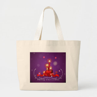 A purple christmas card with red lighted candles large tote bag