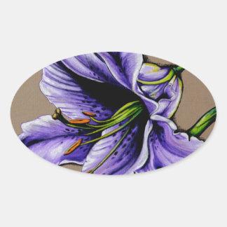 A purple stargazer lily oval sticker