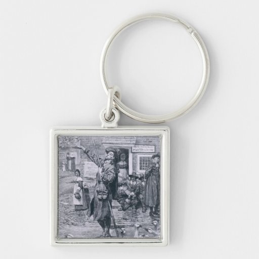 A Quaker Exhorter in New England Silver-Colored Square Keychain