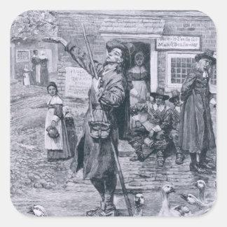 A Quaker Exhorter in New England Square Sticker