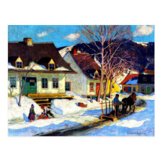 A Quebec Village Street - Clarence Gagnon artwork Postcard