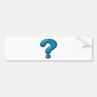 A question mark symbol car bumper sticker