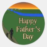 A Quiet Father & Son Walk Classic Round Sticker