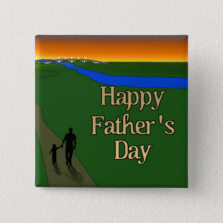 A Quiet Father & Son Walk Pinback Button