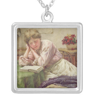 A Quiet Read Silver Plated Necklace