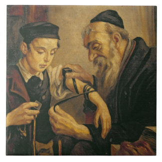 A Rabbi tying the Phylacteries to the arm of a boy Ceramic Tile