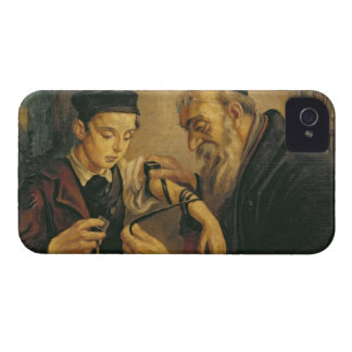 A Rabbi tying the Phylacteries to the arm of a boy iPhone 4 Case