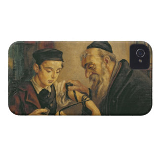 A Rabbi tying the Phylacteries to the arm of a boy iPhone 4 Case-Mate Case