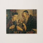 """A Rabbi tying the Phylacteries to the arm of a boy Jigsaw Puzzle<br><div class=""""desc"""">Image:172909  A Rabbi tying the Phylacteries to the arm of a boy (oil on canvas). Jewish School,  (19th century). Private Collection,  The Stapleton Collection.  Art,  Fine Art.</div>"""
