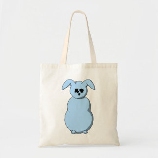 A Rabbit of Snow, Cartoon in Pale Blue. Canvas Bags
