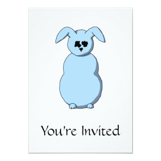 A Rabbit of Snow, Cartoon in Pale Blue. Card