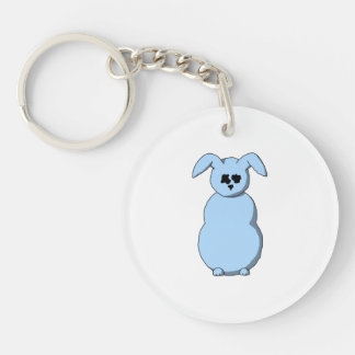 A Rabbit of Snow, Cartoon in Pale Blue. Double-Sided Round Acrylic Keychain