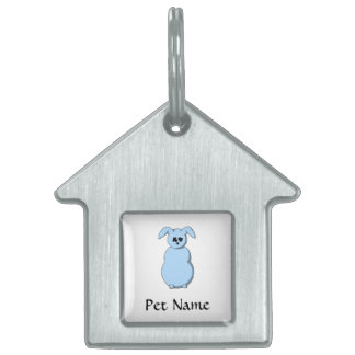 A Rabbit of Snow, Cartoon in Pale Blue. Pet ID Tag