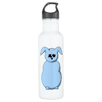 A Rabbit of Snow, Cartoon in Pale Blue. Stainless Steel Water Bottle